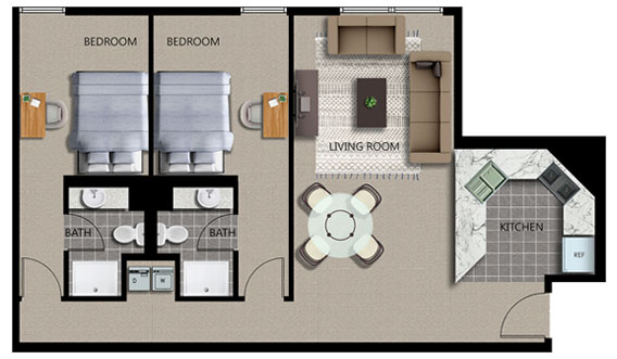 Featured 2-Bed 2-Bath Plan