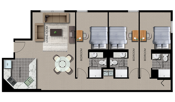 Featured 3-Bed 3-Bath Plan